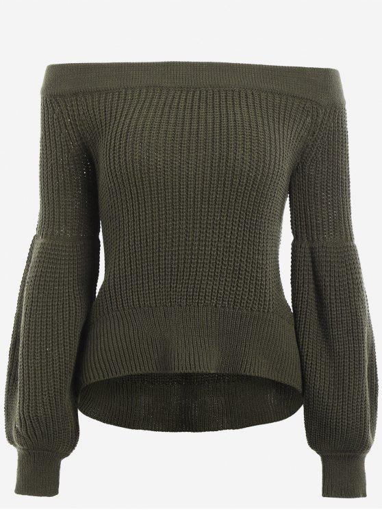Lantern Sleeve Off The Shoulder Sweater ARMY GREEN: Sweaters ONE ...