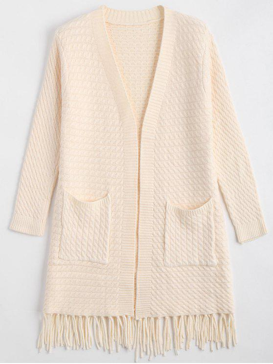 Fringe Cable Knit Cardigan OFF-WHITE: Sweaters ONE SIZE | ZAFUL