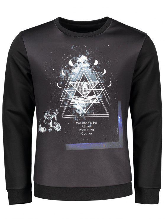lady Crew Neck Space Print Sweatshirt - BLACK XL