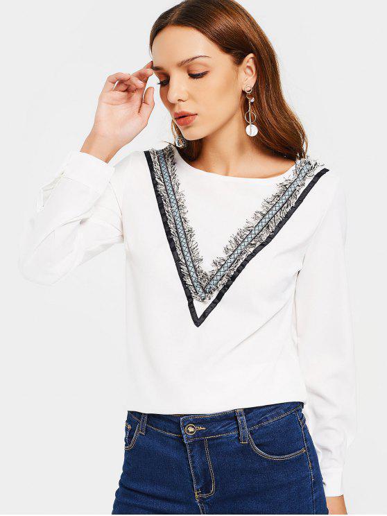 Cuello redondo manga larga embellecido blusa - Blanco L