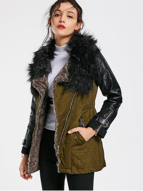 Color Bloque Faux Fur Collar abrigo de manga larga - Verde del ejército L