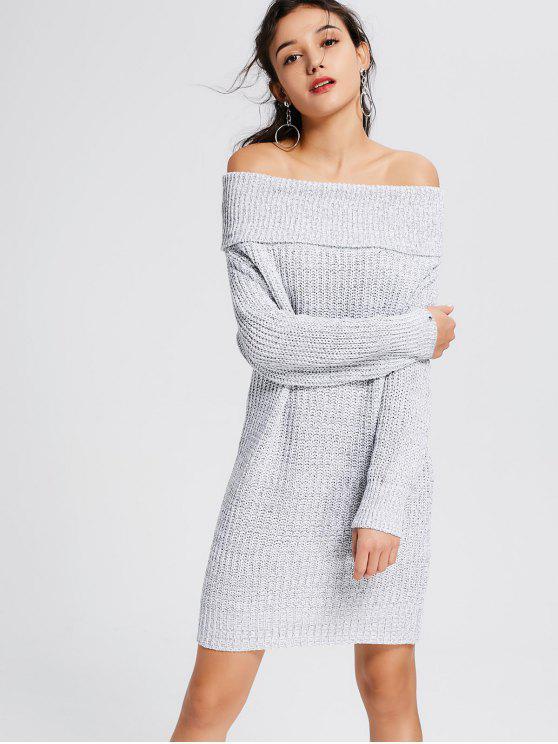 Gris claro del vestido del suéter del hombro - Gris Claro Un tamaño(Montar tam