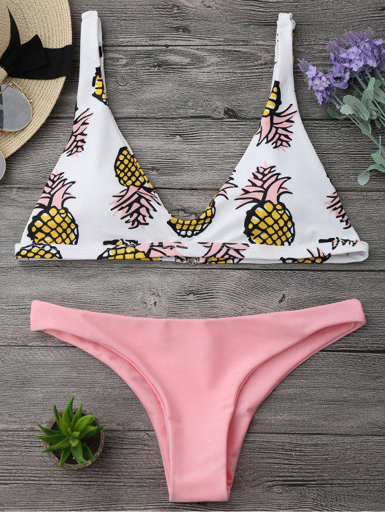 trendy High Cut Pineapple Print Bikini Set - PINK S