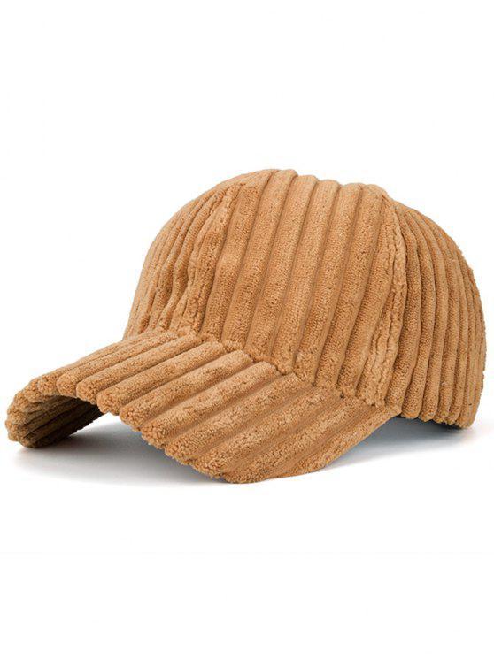 Sombrero de Béisbol de Invierno de Cuero Falso Rayado - Jengibre