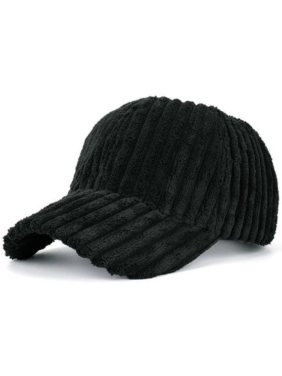 Cappello Da Baseball Caldo A Righe In Pelliccia Sintetica - Nero