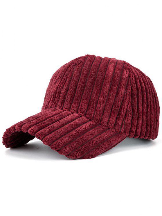 Sombrero de Béisbol de Invierno de Cuero Falso Rayado - Borgoña