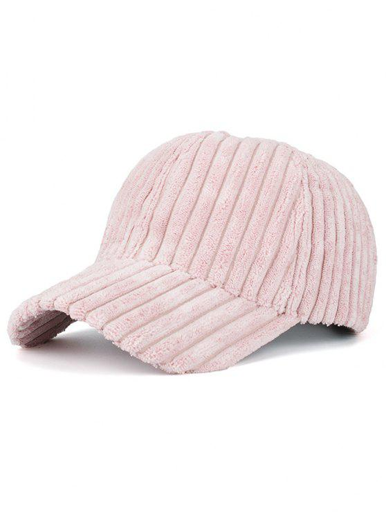 Cappello Da Baseball Caldo A Righe In Pelliccia Sintetica - Rosa