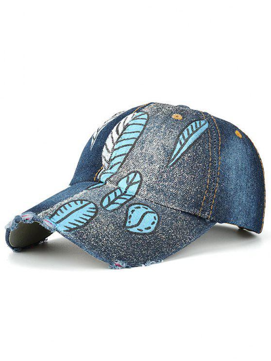 women Color Blocking Hand Painted Leaf Printed Baseball Hat - DEEP BLUE