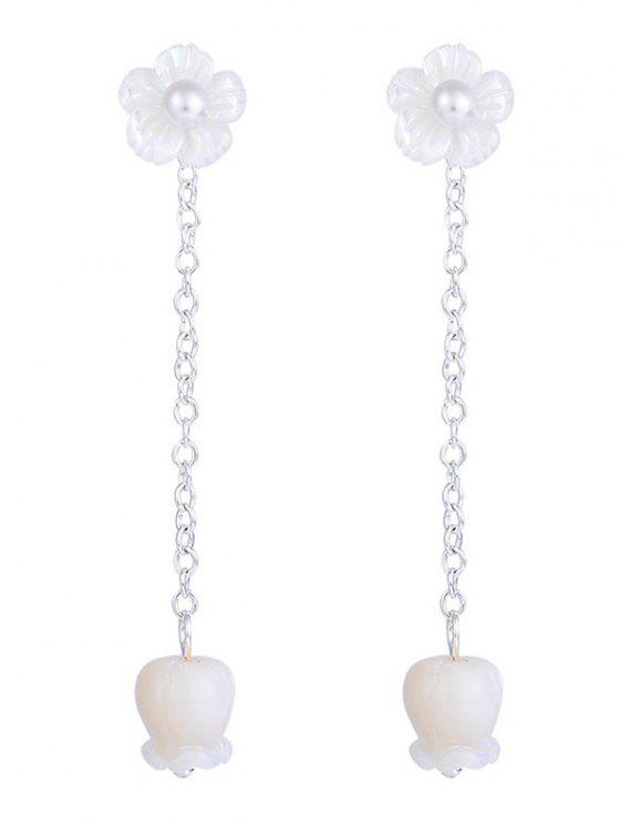 Tiny Floral Design Link Chain Pingente Pendentes - Branco
