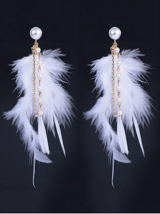 Orecchini Pendenti Con Diamante E Perla Artificiali E Piuma Naturale - Bianco
