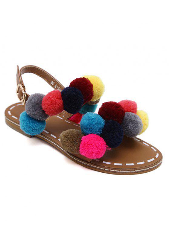 womens Roman Style Pom Pom Flat Sandals - BROWN 41