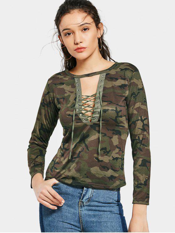 T-shirt Di Camouflage Tagliata Con Lacci - verde  L