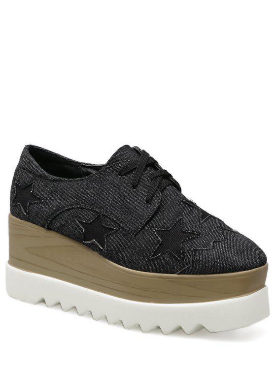 Denim Tie Up Star Pattern Wedge Shoes - Preto 38
