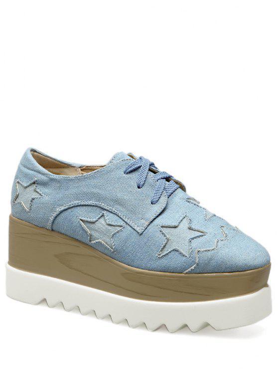 Denim Tie Up Star Pattern Wedge Shoes - Azul claro 38