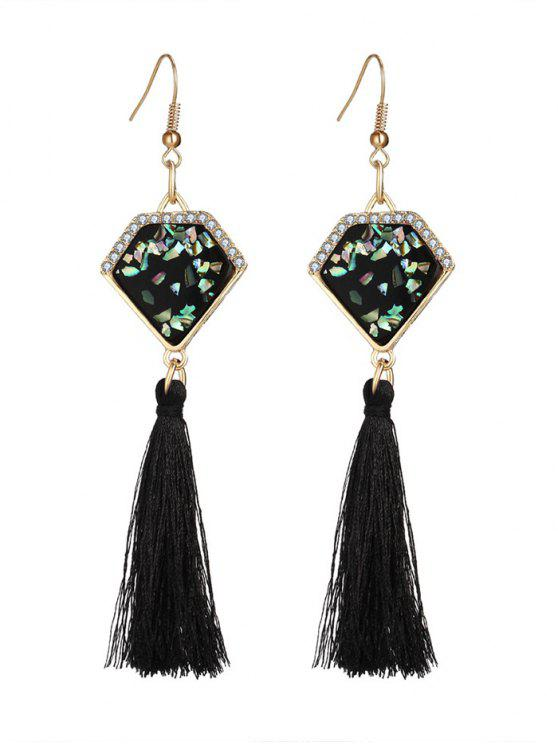 outfits Faux Gem Tassel Geometric Hook Earrings - BLACK