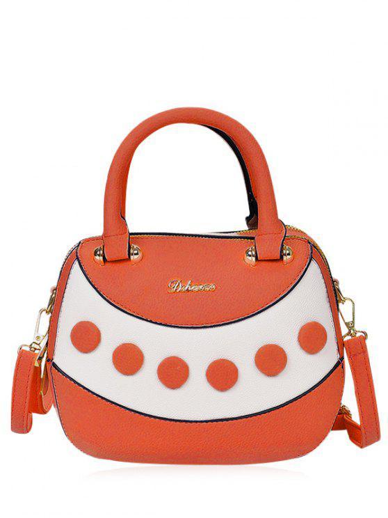 unique Textured Leather Color Block Handbag - ORANGE