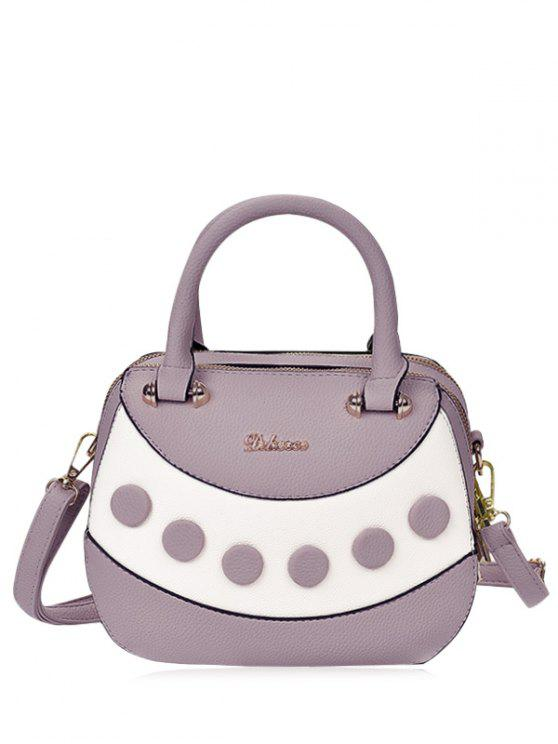 affordable Textured Leather Color Block Handbag - PURPLE