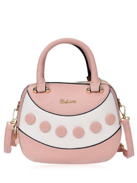 حقيبة جلدية ملونة بلوك - وردي فاتح
