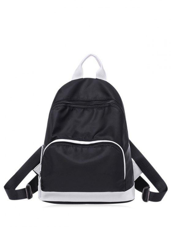 women Nylon Color Block Zippers Backpack - BLACK