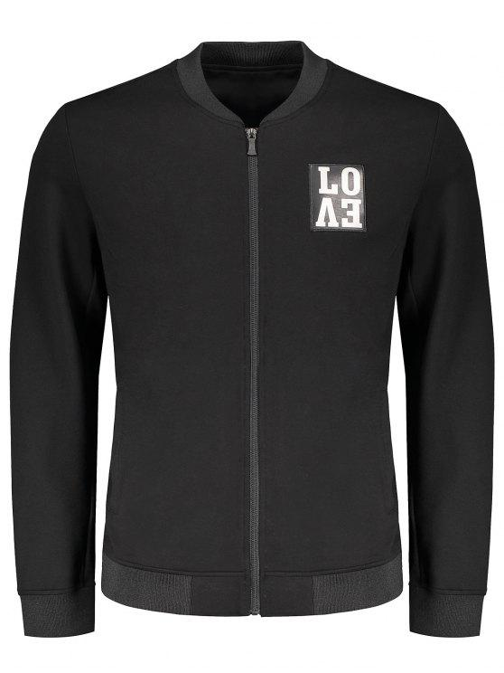 womens Love Embroidered Zippered Baseball Jacket - BLACK L