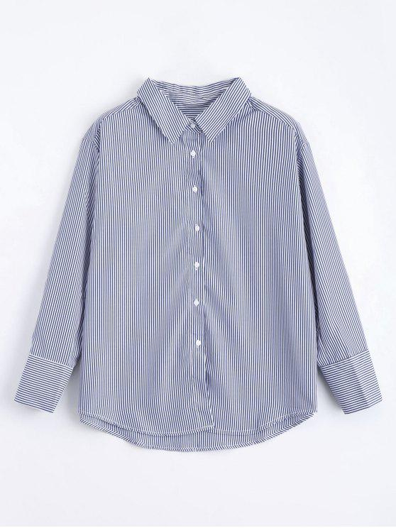 3da79d282d4 29% OFF  2019 Loose Button Down Stripes Shirt In STRIPE