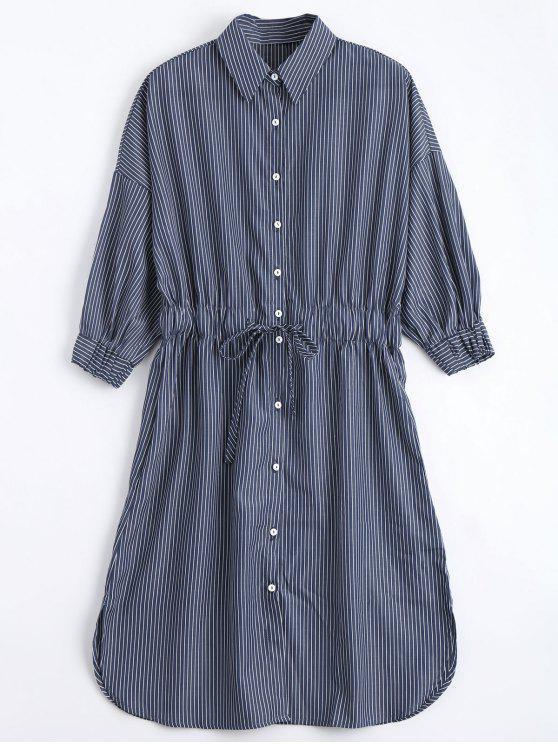 Botón con cinturón vestido rayas camisa - Raya S