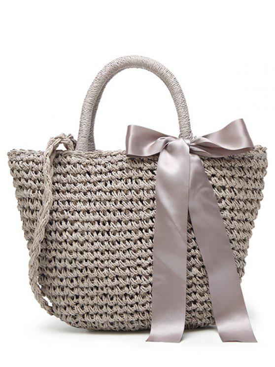 affordable Ribbon Bowknot  Straw Handbag - GRAY