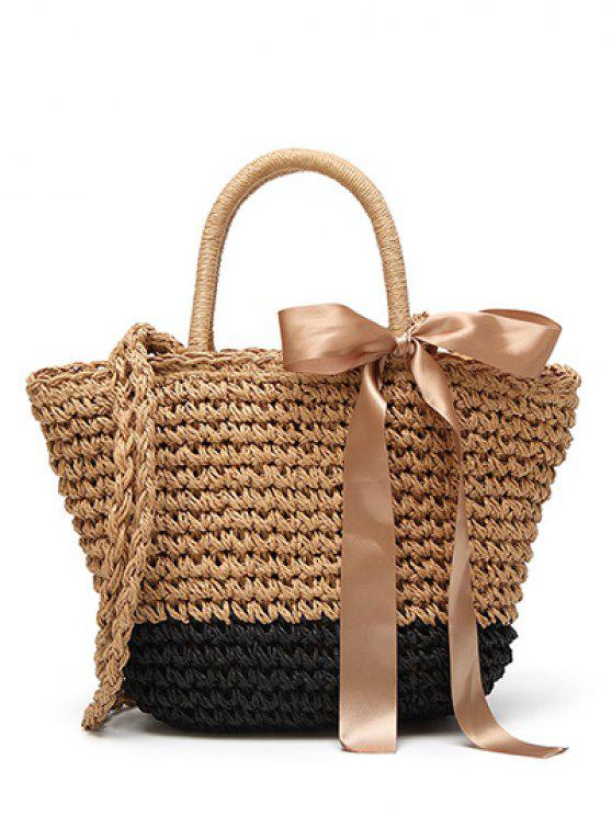 buy Ribbon Bowknot  Straw Handbag - BLACK