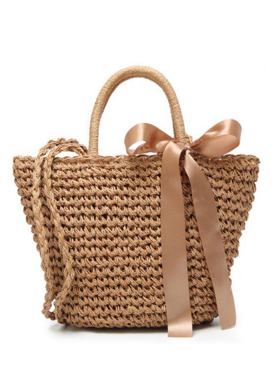 Ribbon Bowknot Straw Handbag - Brown