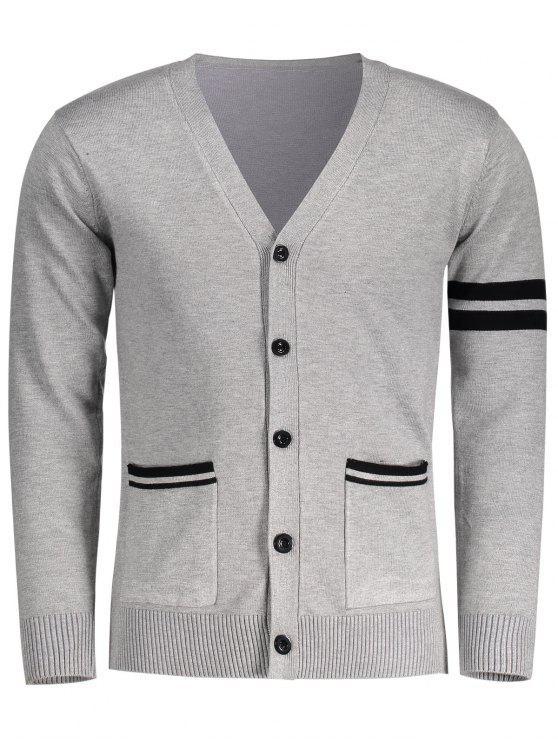 V Neck Button Up Cardigan - Cinzento 2XL