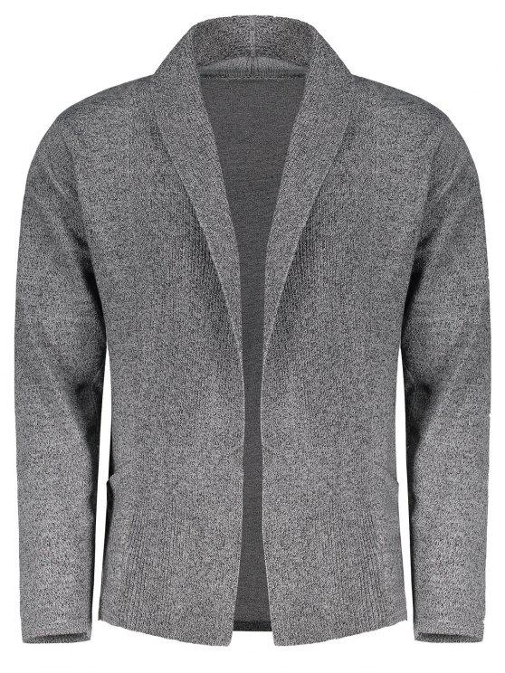 latest Shawl Collar Open Front Cardigan - FEATHER GRAY 2XL