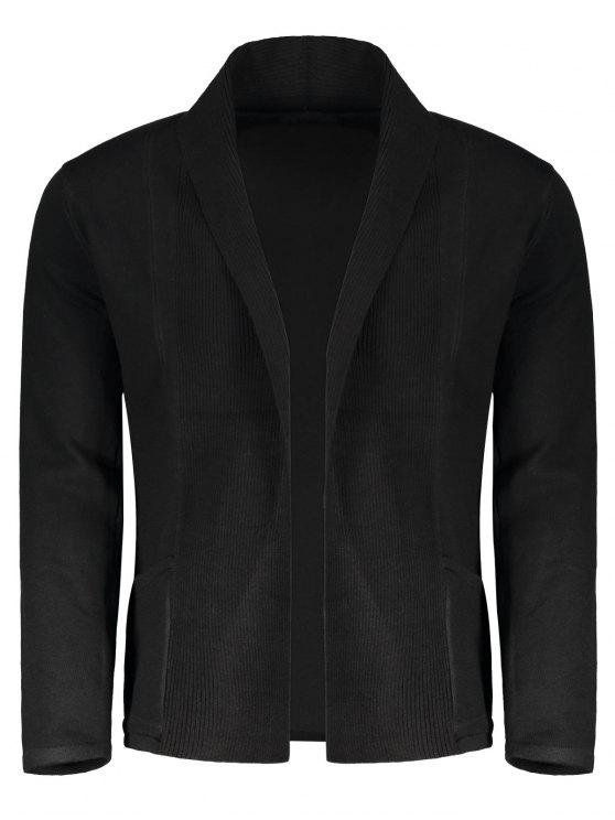 affordable Shawl Collar Open Front Cardigan - BLACK M