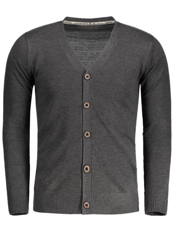 women's Button Up V Neck Cardigan - DEEP GRAY M