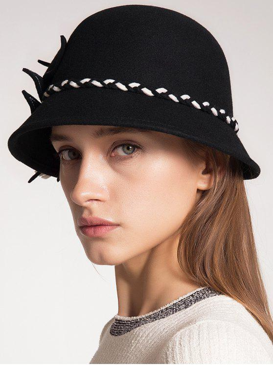 best Woolen Blended Felt Leaf Patchwork Hat - FULL BLACK