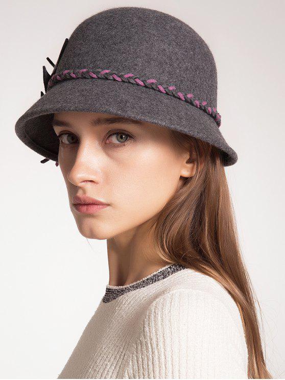 online Woolen Blended Felt Leaf Patchwork Hat - GRAY