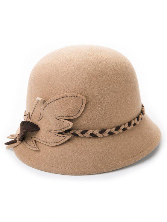 new Woolen Blended Felt Leaf Patchwork Hat - LIGHT CAMEL