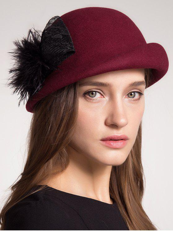 Pompon Bowknot Embellished Curly Brim Pillbox Hat - Vermelho Tinto