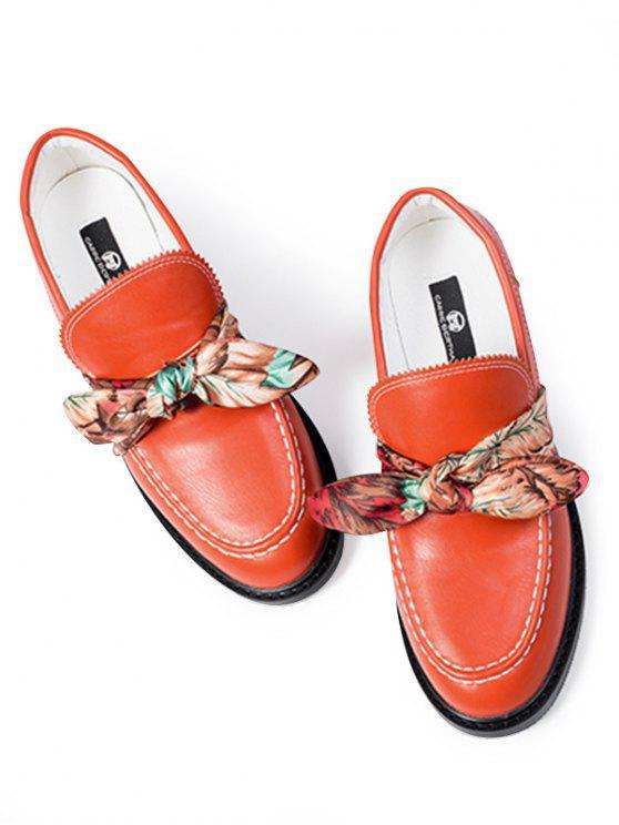 Stitching Bow PU Leather Flat Shoes - Vermelho 39