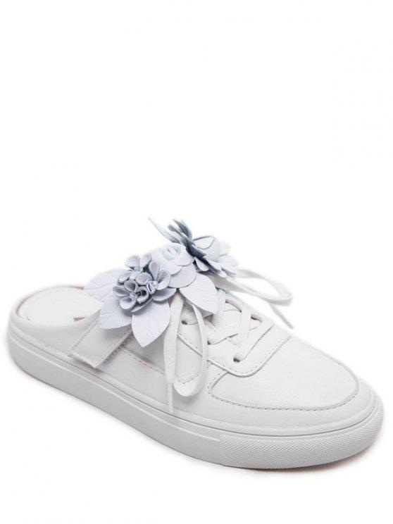 Tie Up Faux Leather Flowers Flat Shoes - Blanc 40