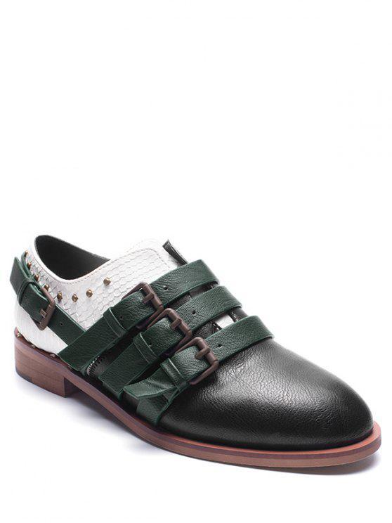Flache Schuhe aus Kunstleder mit Farbblock , Gürtelschnalle und Riemen - Schwarz 38