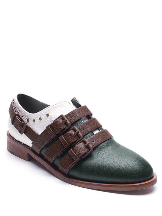 Hebilla correas de cuero de color falso bloque plana zapatos - Verde 37