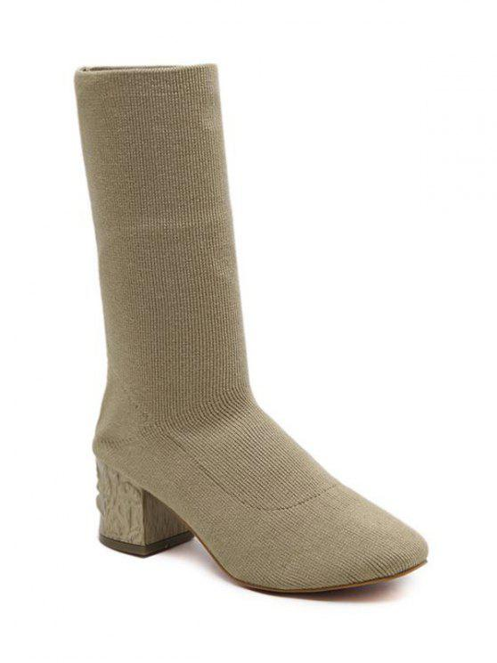 fashion Mid Heel Knit Round ToeBoots - APRICOT 39