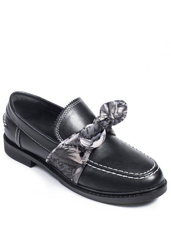 sale Stitching Bow PU Leather Flat Shoes - BLACK 37