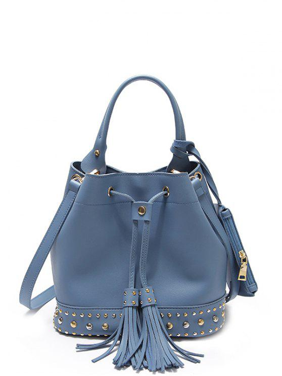 best Drawstring Studded Tassels Handbag - BLUE