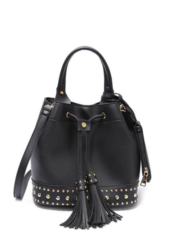 new Drawstring Studded Tassels Handbag - BLACK