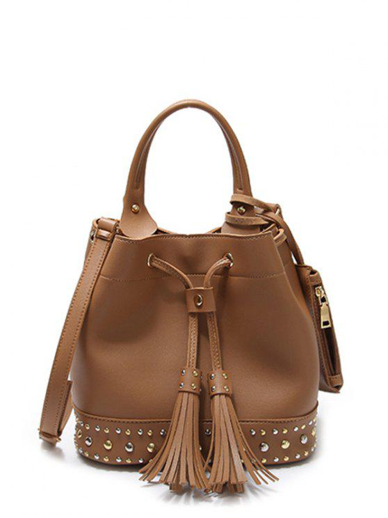 outfit Drawstring Studded Tassels Handbag - BROWN