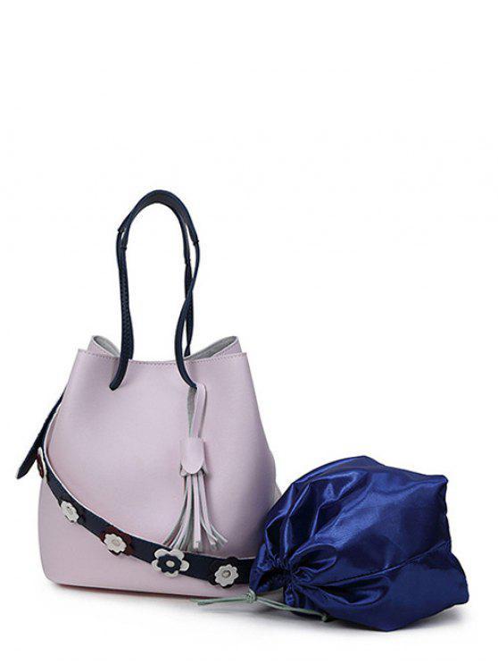 حقيبة اليد طباعة الأزهار شرابة بجلد اصطناعي - وردي فاتح