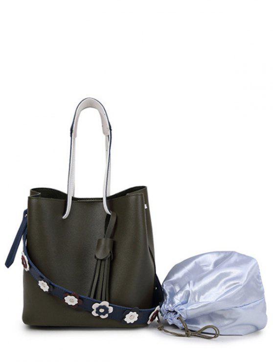 trendy Tassels Flowers Faux Leather Handbag - GREEN