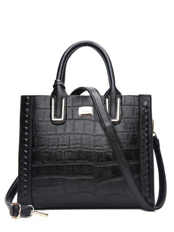 fashion Weave Textured Leather Tote Bag - BLACK