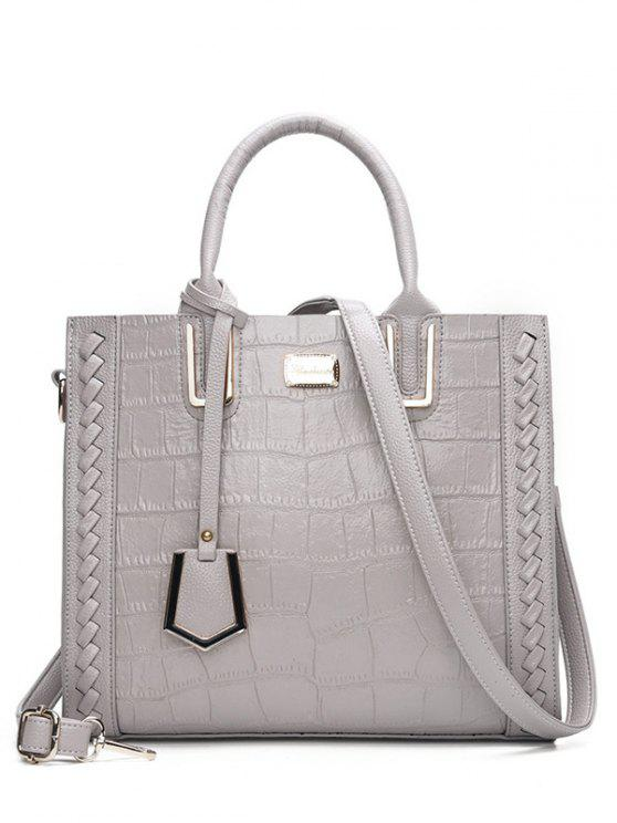 fancy Weave Textured Leather Tote Bag - GRAY